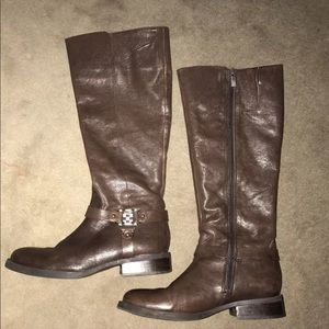 Vince Camuto Farren Ebony Leather Riding Boots